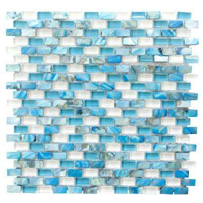 La Jolla Blue 12.25 in. x 12 in. x 8 mm Interlocking Glass and Shell Mosaic Tile