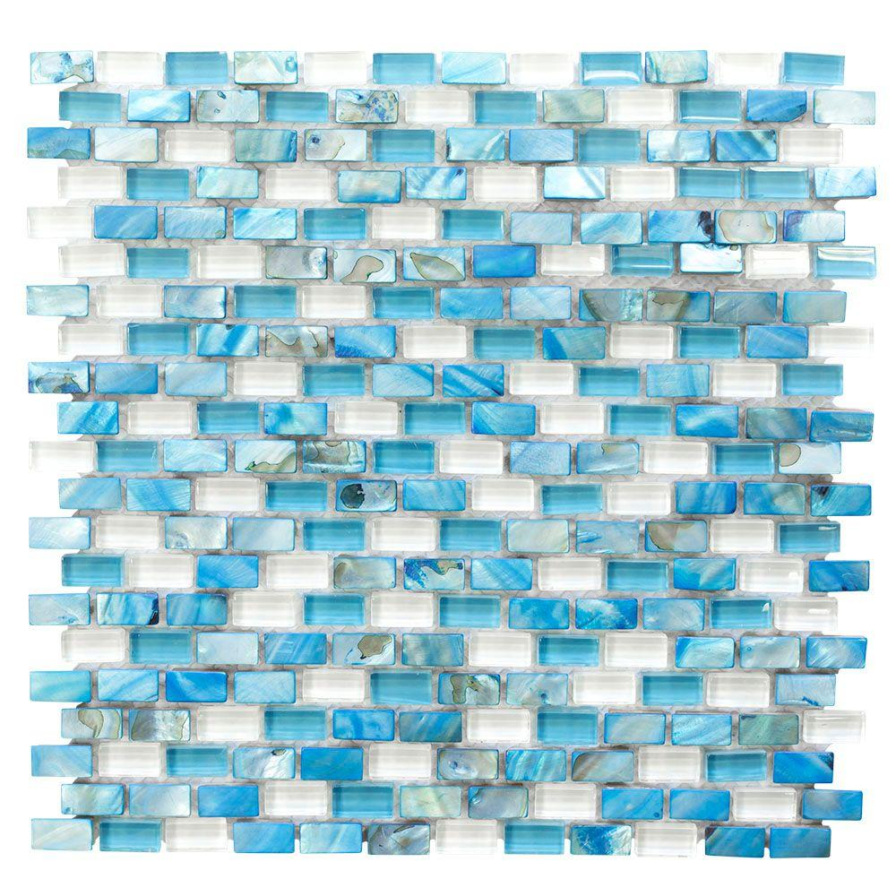 Jeffrey Court Black Azure 12 in. x 12 in. 8 mm Glass Marble Mosaic ...