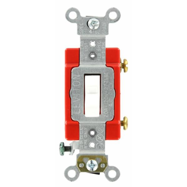 20 Amp Industrial Grade Heavy Duty Single-Pole Lighted Handle Toggle Switch, White