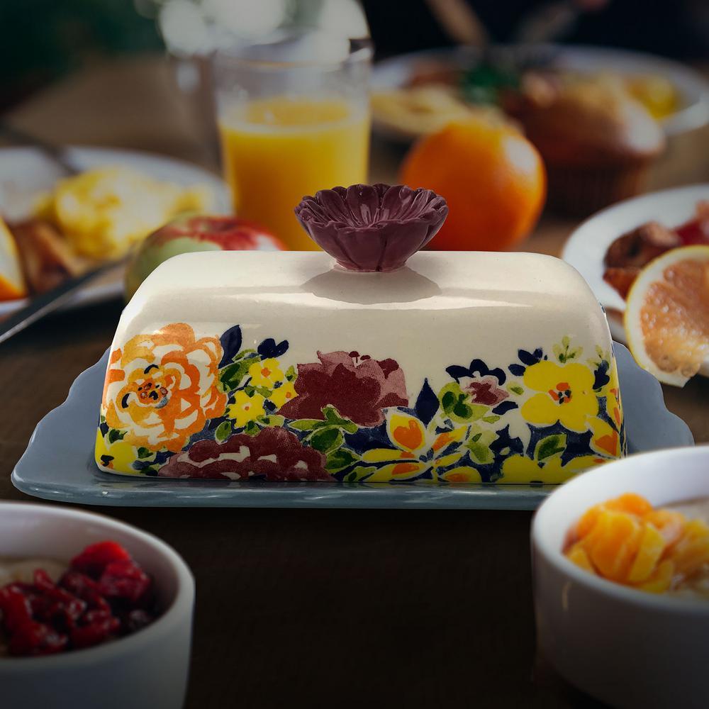 Blutique Ceramic Floral Butter Dish