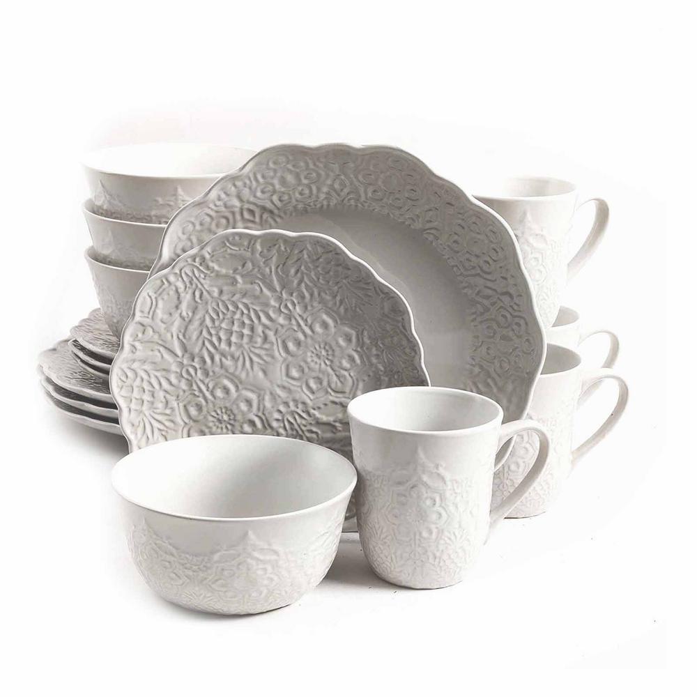 Portina 16-Piece Linen Stoneware Dinnerware Set