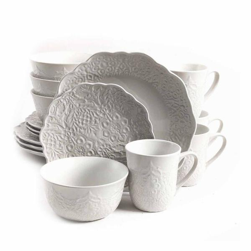 GIBSON elite Portina 16-Piece Linen Stoneware Dinnerware Set 985111649M