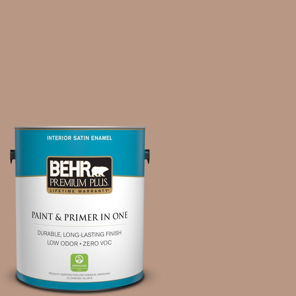 BEHR Premium Plus 1-gal. #250F-4 Stone Brown Zero VOC Satin Enamel Interior Paint