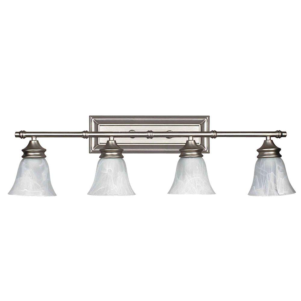 Vanity Lights Satin Nickel : Luminance Maddox 4-Light Bright Satin Nickel Vanity Light-F2504-80 - The Home Depot
