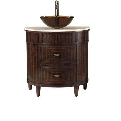 Fuji 32 in. W x 21 in. D Bath Vanity in Old Walnut with Marble Vanity Top in Cream and Brown Glass Basin