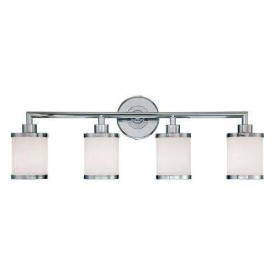 4-Light Chrome Vanity Light with Etched White Glass