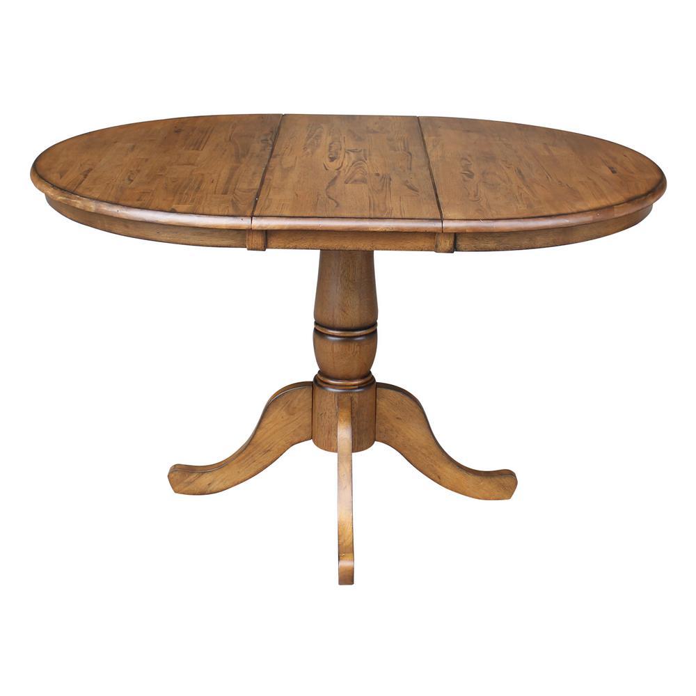 36 in. x 48 in. x 30 in. H Pecan Extension Laurel Pedestal Table