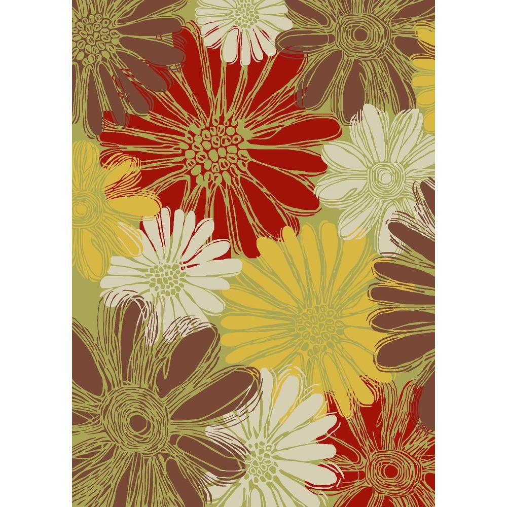 Green Patio Rug 5x7: Nourison Home And Garden Daisies Green 10 Ft. X 13 Ft