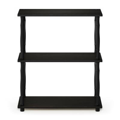 29.5 in. Espresso/Black Plastic 3-shelf Etagere Bookcase with Open Back