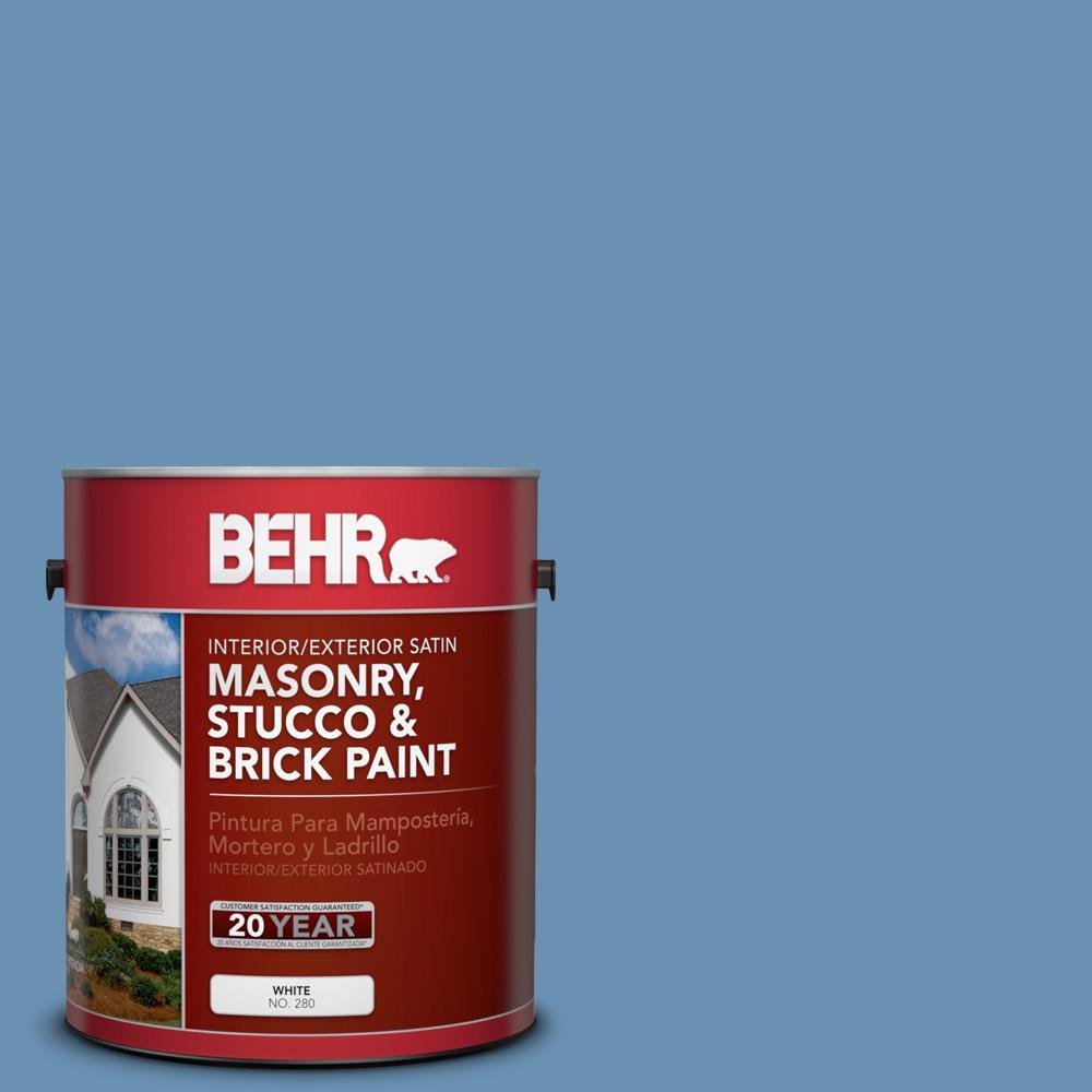 1 gal. #M510-4 Brittany Blue Satin Interior/Exterior Masonry, Stucco and Brick Paint