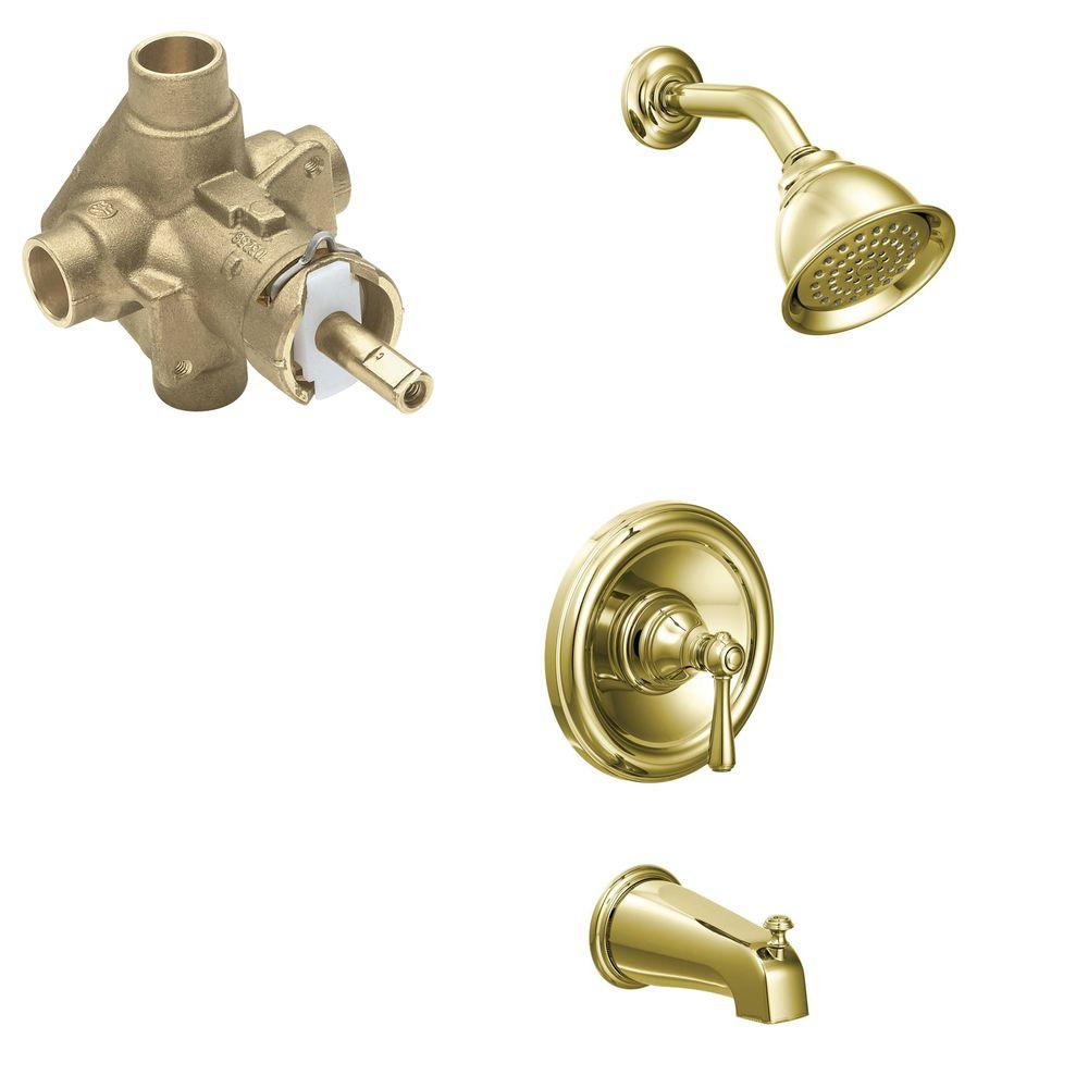 MOEN Kingsley Single-Handle 1-Spray PosiTemp Tub and Shower Faucet Trim Kit with Valve in Polished Brass (Valve Included)