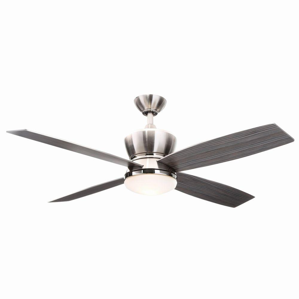 Hampton Bay 42nd Street 52 in. Indoor Brushed Nickel/Polished Nickel Ceiling Fan with Light Kit and Remote Control