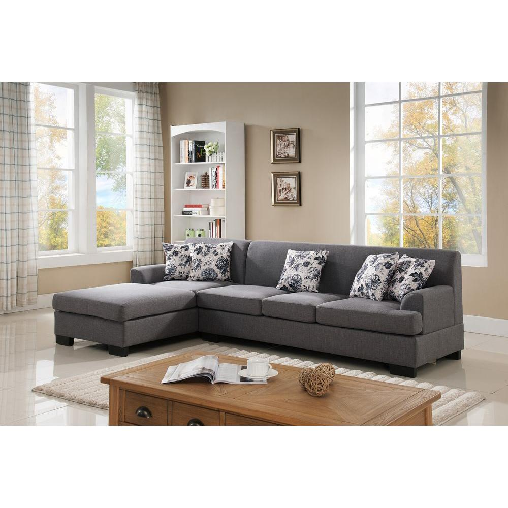 null 2-Piece Grey Linen Sectional  sc 1 st  Home Depot : sectional sofa with reversible chaise - Sectionals, Sofas & Couches