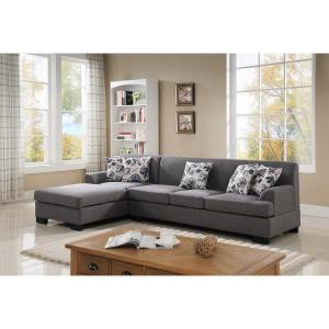 2-Piece Grey Linen Sectional by