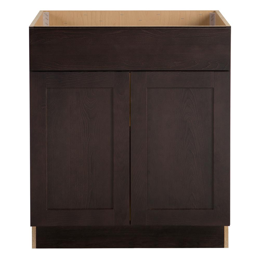 Hampton Bay Cambridge Assembled 30x34.5x24 in. Sink Base Cabinet with False Drawer Front in Dusk -  CM3035S-DK