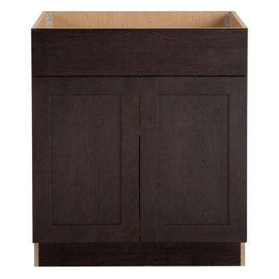 Cambridge Assembled 30x34.5x24 in. Sink Base Cabinet with False Drawer Front in Dusk