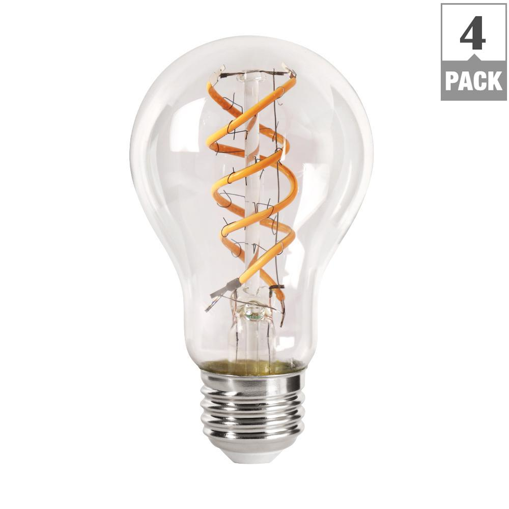 40W Equivalent Soft White (2150K) AT19 Dimmable LED Clear Vintage Style