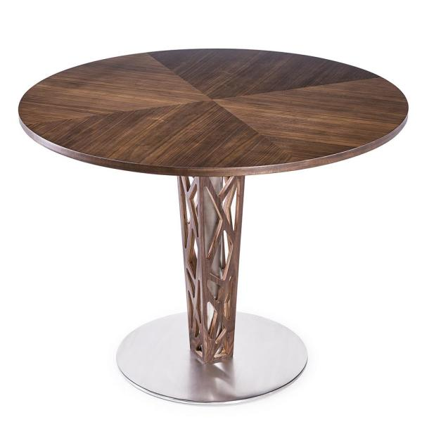 Crystal 48'' Round Dining Table in Walnut Veneer column and Brushed Stainless Steel finish with Walnut Veneer Wood Top