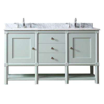 Sutton 60 in. W x 22 in D Vanity in Rainwater with Marble Vanity Top in White/Grey with White Basin