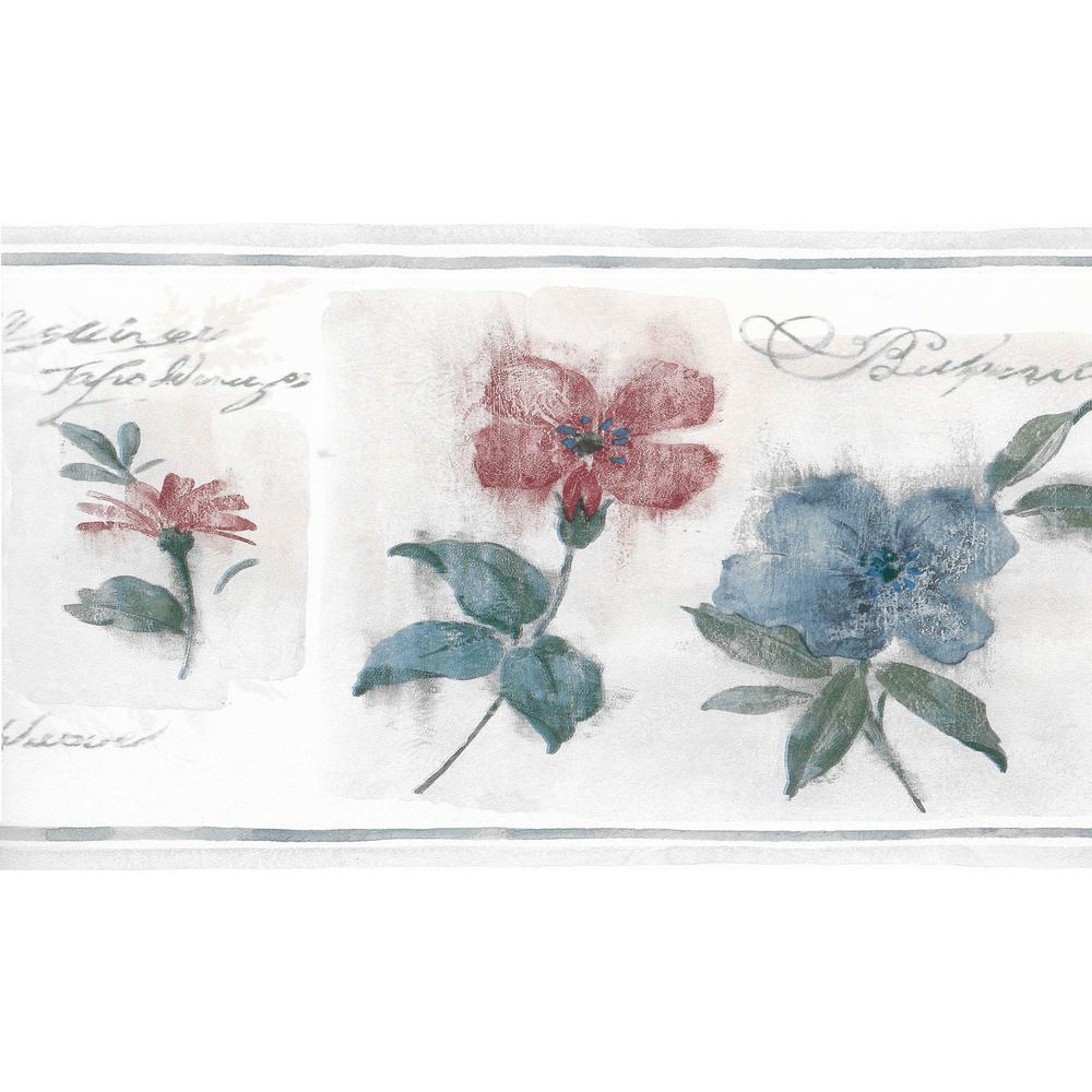 Falkirk Brin Flowers Beige, Blue, Red Wallpaper Border
