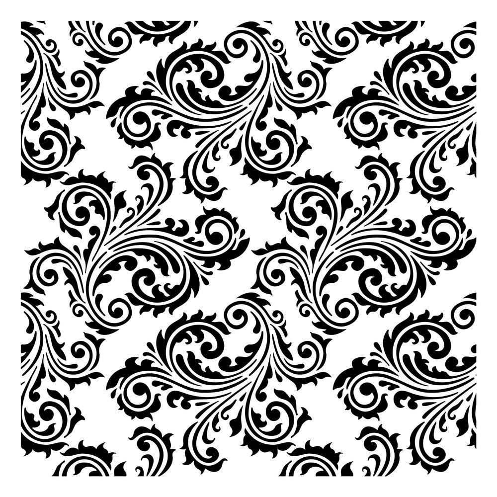 Designer Stencils Scroll Damask Stencil 10 Mil Plastic Fs072