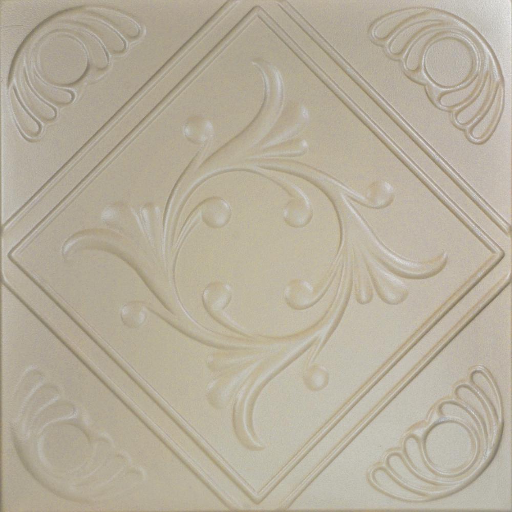 Diamond Wreath 1.6 ft. x 1.6 ft. Foam Glue-up Ceiling Tile in Lenox Tan
