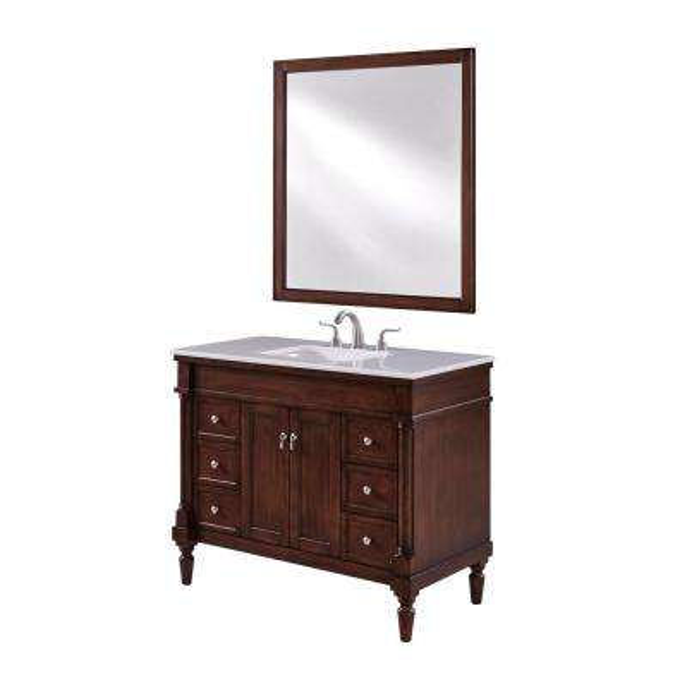 Wagner 42 in. Single Bath Vanity w/ 6 Drawers 1 Shelf 2 Doors; Marble Top; Porcelain Sink; Walnut