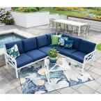 Blakely White 5-Piece Aluminum Outdoor Sectional Set with Navy Cushions