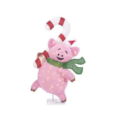 Toasty Tinsel 48 in. Christmas Warm White LED Pig with Candy Cane