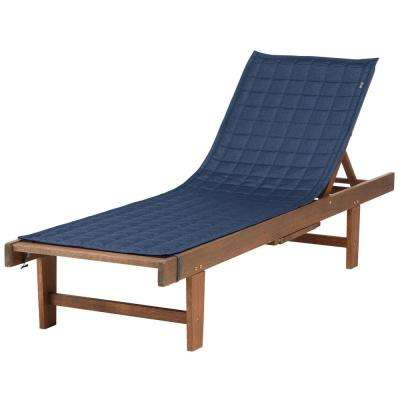Montlake FadeSafe 72 in. L x 21 in. W Heather Indigo Patio Chaise Lounge Slipcover