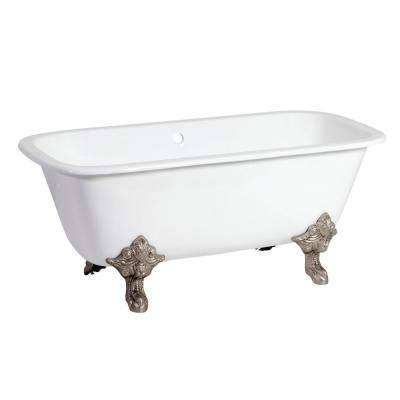 Modern 67 in. Cast Iron Brushed Nickel Clawfoot Double Ended Bathtub in White