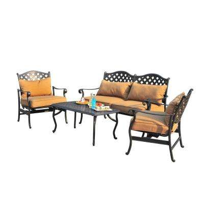 Ruby 4 Piece Patio Conversation Set With Caramel Cushions