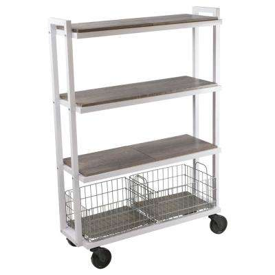 4-Tier Steel Cart System Wide in White
