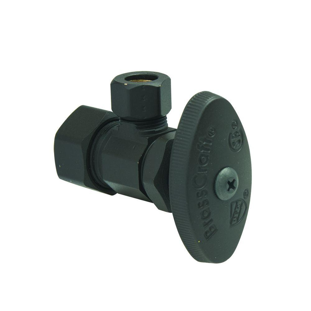 BrassCraft 1/2 in. Nom Comp Inlet x 3/8 in. O.D. Comp Outlet Multi-Turn Angle Valve in Oil Rubbed Bronze