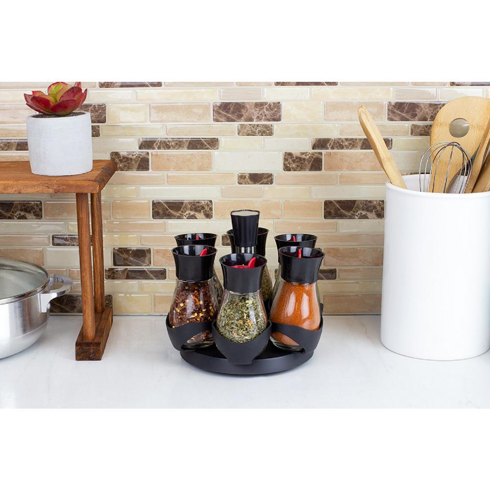 Contemporary Gourmet Revolving 6-Jar Black Spice Rack HDC55844