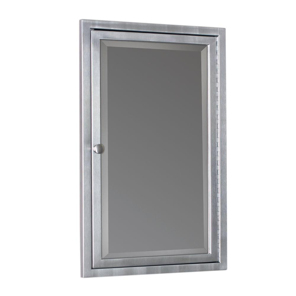 Recessed Bathroom Medicine Cabinets D Framed Single Door Stainless Steel Recessed Bathroom Medicine Cabinet in  Brush Nickel