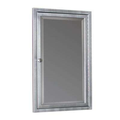 16 in. W x 26 in. H x 4-1/2 in. D Framed Single Door Stainless Steel Recessed Bathroom Medicine Cabinet in Brush Nickel