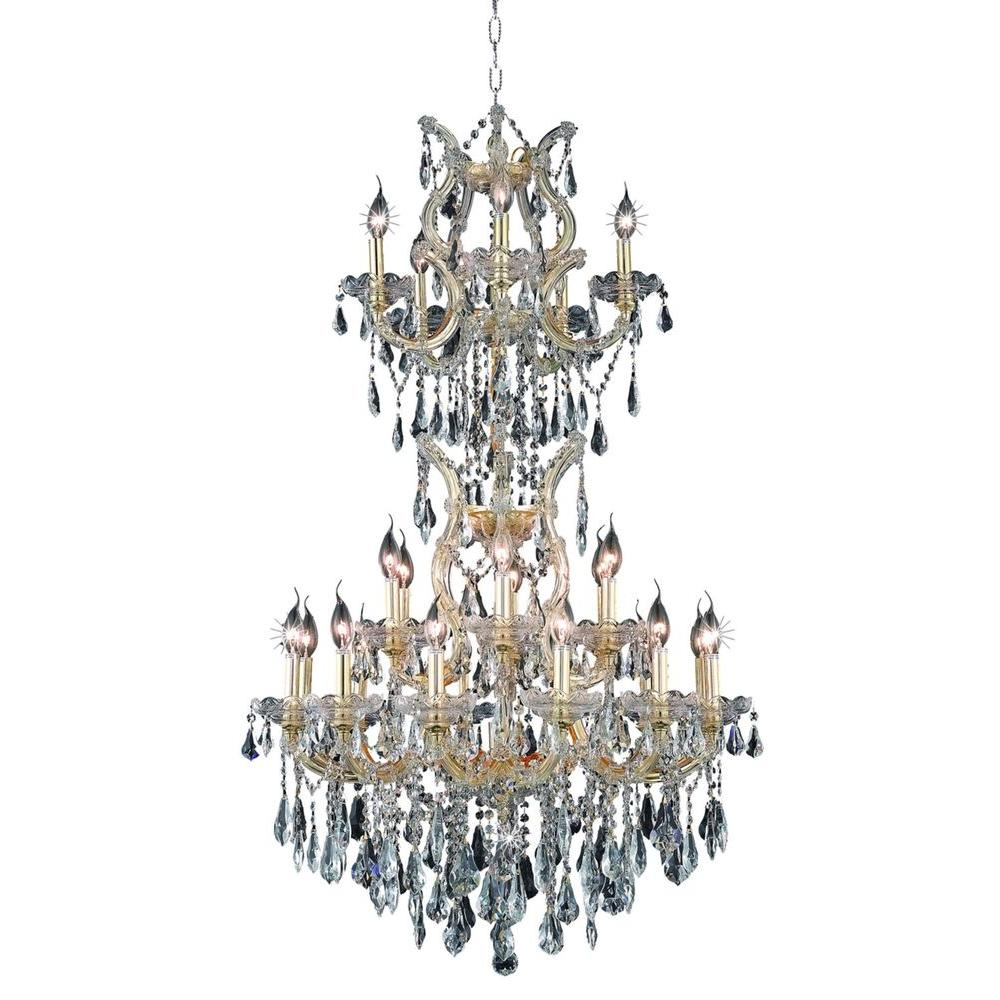 25-Light Gold Chandelier with Clear Crystal