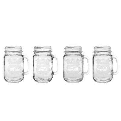 Happy Camper 16 oz. Drinking Jar - Mixed (Set of 4)