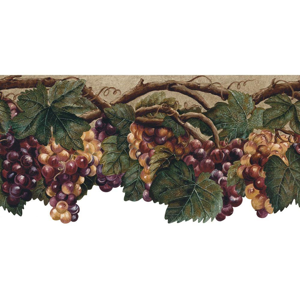 The Wallpaper Company 10.37 in. x 15 ft. Purple Die Cut Fruit Border