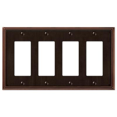 Rhodes 4 Gang Rocker Metal Wall Plate - Aged Bronze
