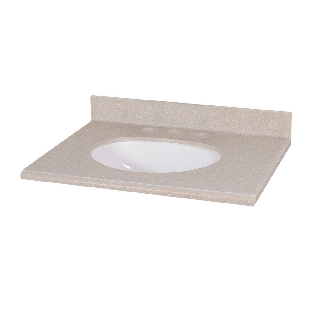Solid Surface Vanity Top In Sandstone With White Bowl