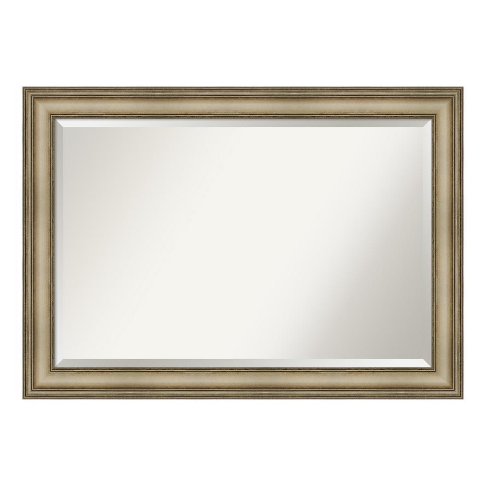 Amanti Art Mezzanine Antique Silver Bathroom Vanity Mirror