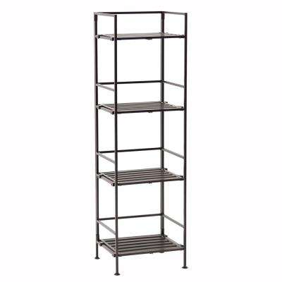 Espresso 4-Tier Resin Slat Square Tower Shelving