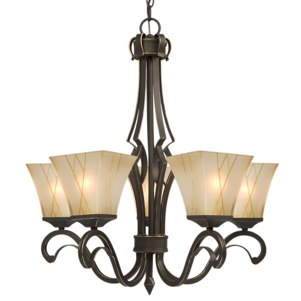 Negron 5-Light Oil-Rubbed Bronze with Gold Incandescent Chandelier