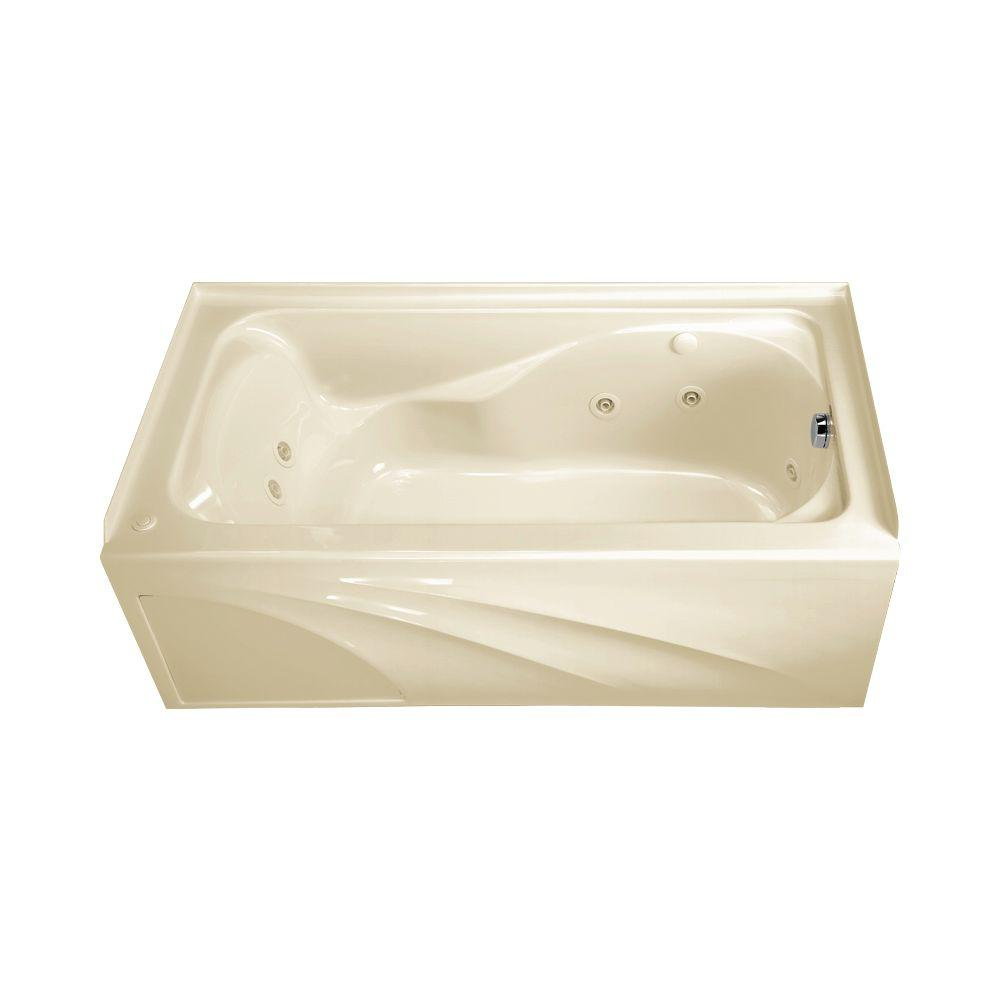 American Standard Cadet 5 ft. x 32 in. Right Drain EverClean Whirlpool Tub with Integral Apron in Linen