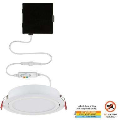 Slim Baffle High Lumen 6 in. New Construction and Remodel Color Selectable Canless LED Recessed Kit