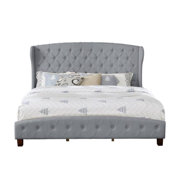 Gray Queen Size Upholstered Shelter Bed