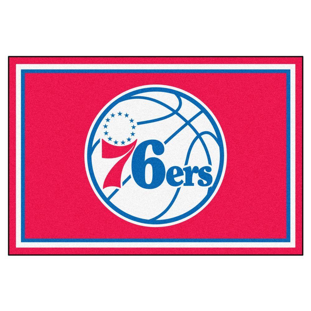FANMATS NBA Philadelphia 76 ers Red 5 ft. x 8 ft. Indoor Area Rug