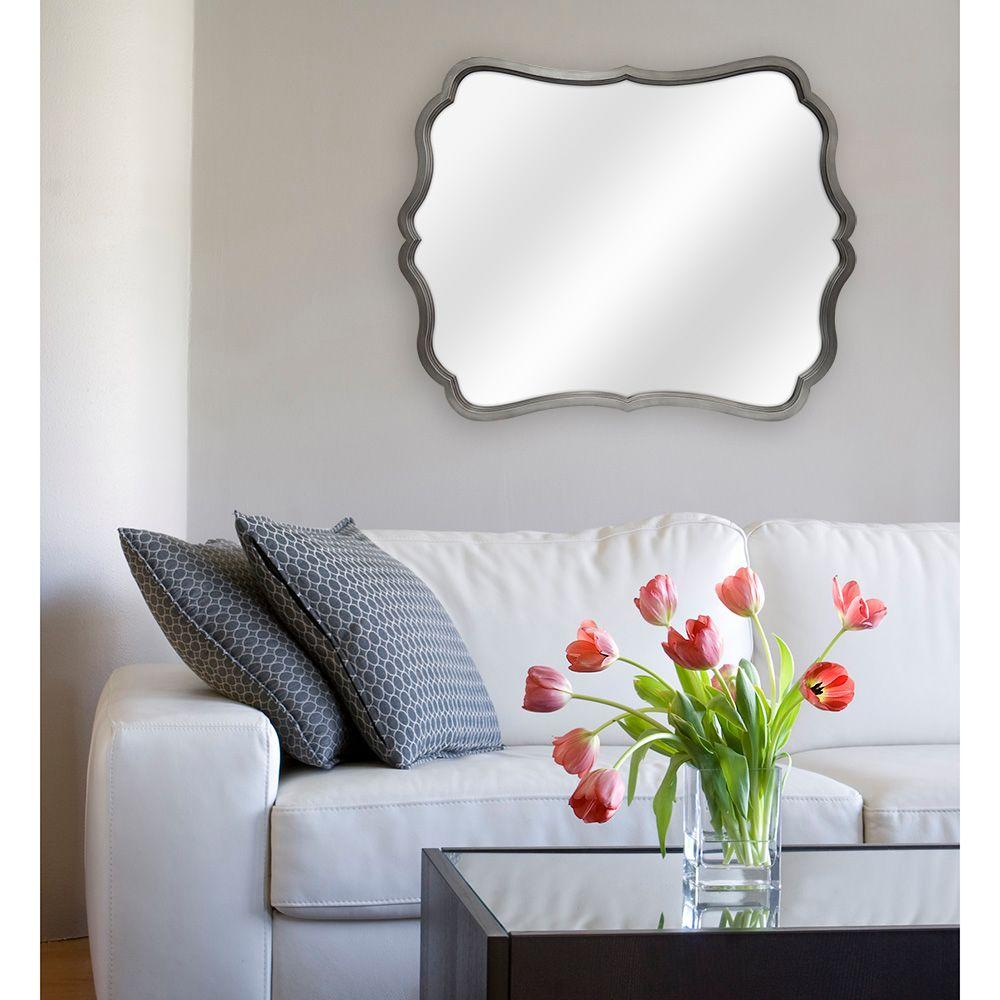 MCS Crest 30 in. H x 24 in. W Framed Mirror in Pewter